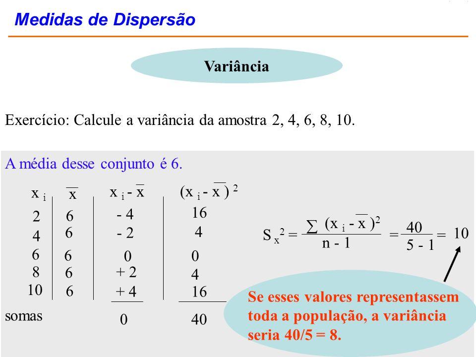 Variância Exercício: Calcule a variância da amostra 2, 4, 6, 8, 10. A média desse conjunto é 6. 6 6 + 2 4 4 x i x x i - x (x i - x ) 2 2 4 6 8 10 6 6