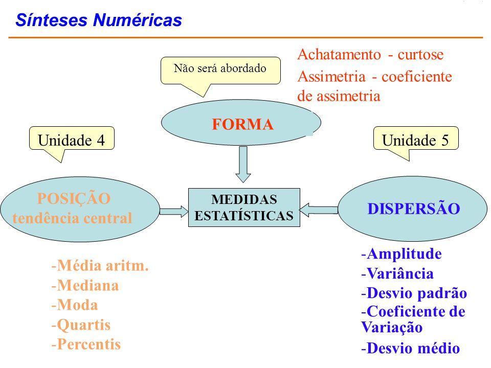 Achatamento - curtose Assimetria - coeficiente de assimetria -Média aritm. -Mediana -Moda -Quartis -Percentis -Amplitude -Variância -Desvio padrão -Co