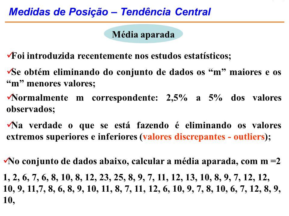 Foi introduzida recentemente nos estudos estatísticos; Se obtém eliminando do conjunto de dados os m maiores e os m menores valores; Média aparada No