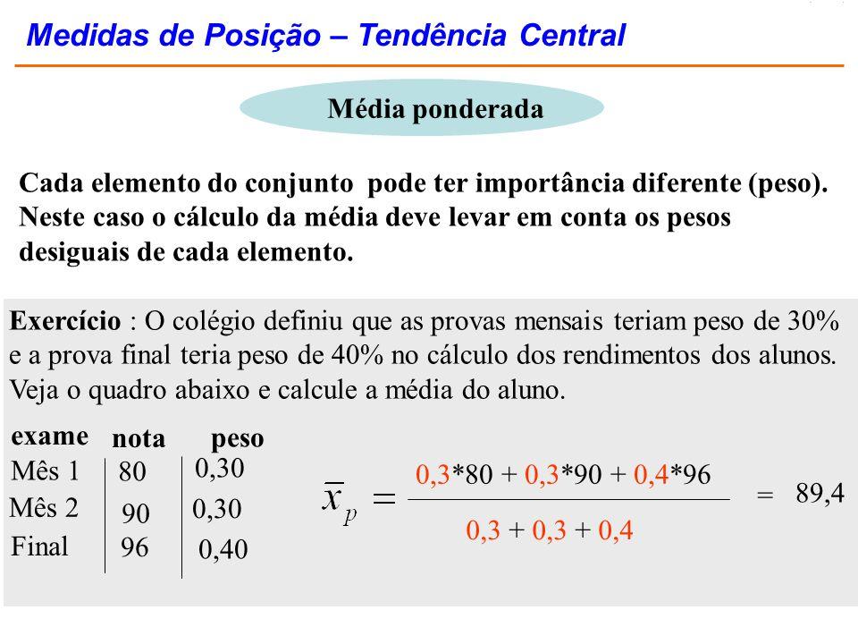 Cada elemento do conjunto pode ter importância diferente (peso). Neste caso o cálculo da média deve levar em conta os pesos desiguais de cada elemento