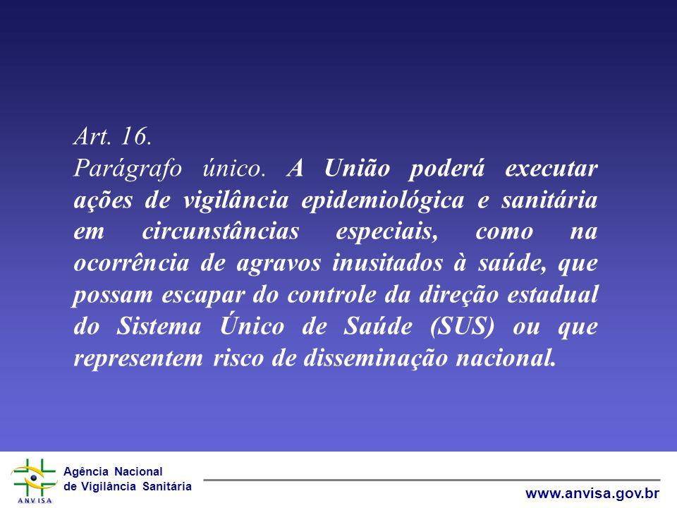 Agência Nacional de Vigilância Sanitária www.anvisa.gov.br Direção Nacional – art.