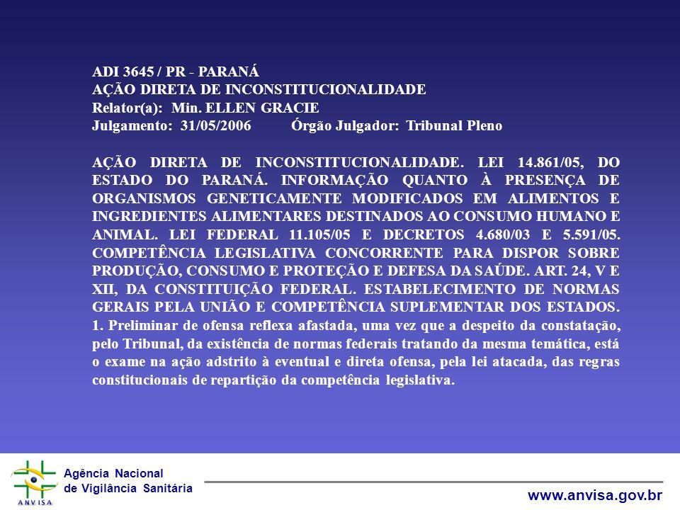 Agência Nacional de Vigilância Sanitária www.anvisa.gov.br Precedente: ADI 2.535-MC, rel.