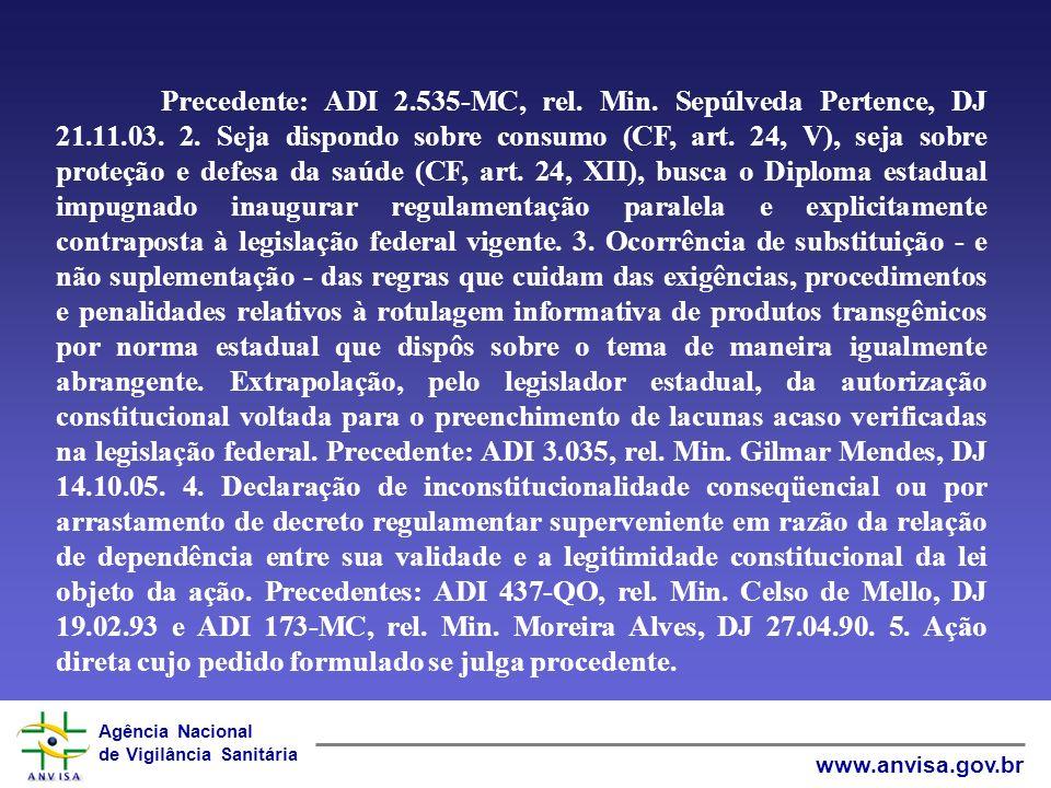Agência Nacional de Vigilância Sanitária www.anvisa.gov.br Para acompanhamento no STF: Ação Direta de Inconstitucionalidade: ADI 4093 -sobre comércio em farmácias e drogarias.