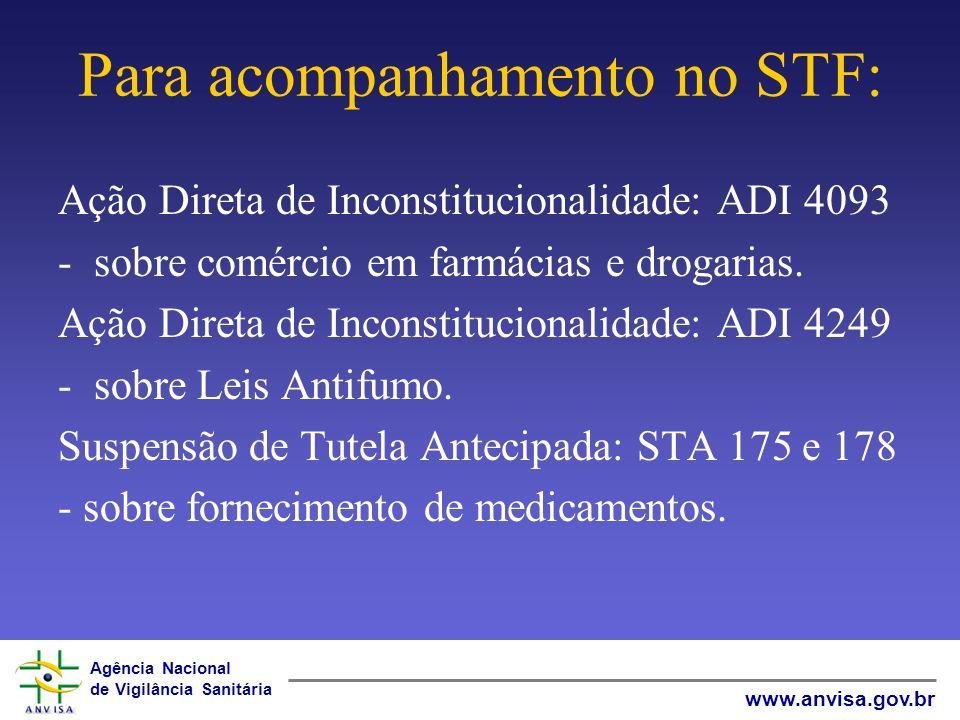 Agência Nacional de Vigilância Sanitária www.anvisa.gov.br Rosane de Faria Pereira Subprocuradora-Chefe da ANVISA PROCURADORIA GERAL FEDERAL – ADVOCACIA GERAL DA UNIÃO Obrigada!