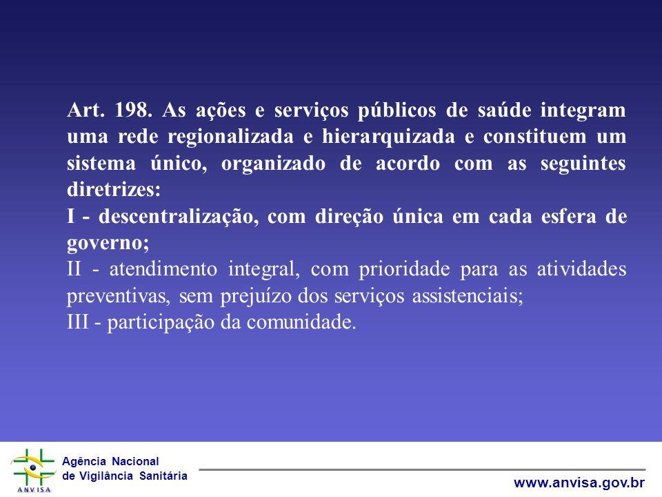 Agência Nacional de Vigilância Sanitária www.anvisa.gov.br LEI N° 8080/1990 – LEI DO SUS Art.