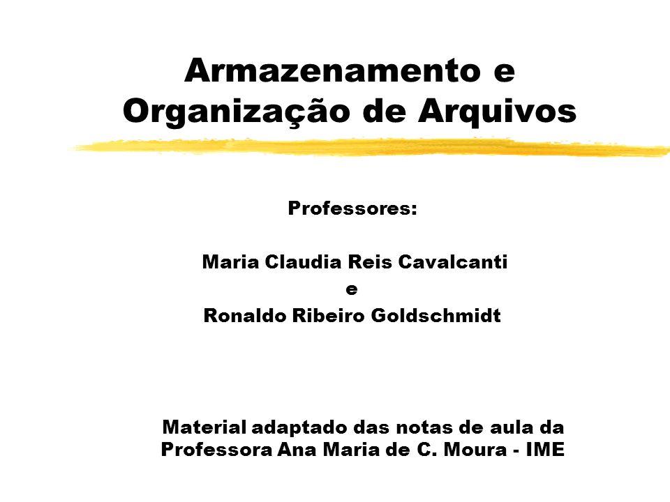 Armazenamento e Organização de Arquivos Professores: Maria Claudia Reis Cavalcanti e Ronaldo Ribeiro Goldschmidt Material adaptado das notas de aula d
