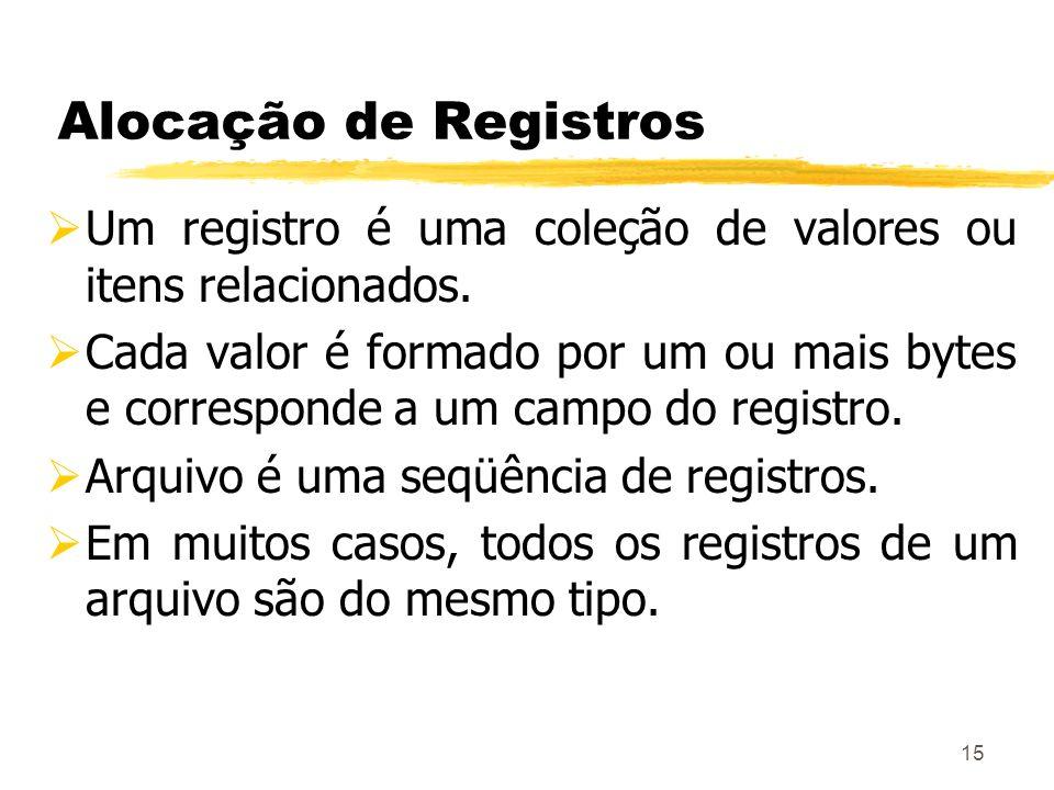 15 Alocação de Registros Um registro é uma coleção de valores ou itens relacionados. Cada valor é formado por um ou mais bytes e corresponde a um camp