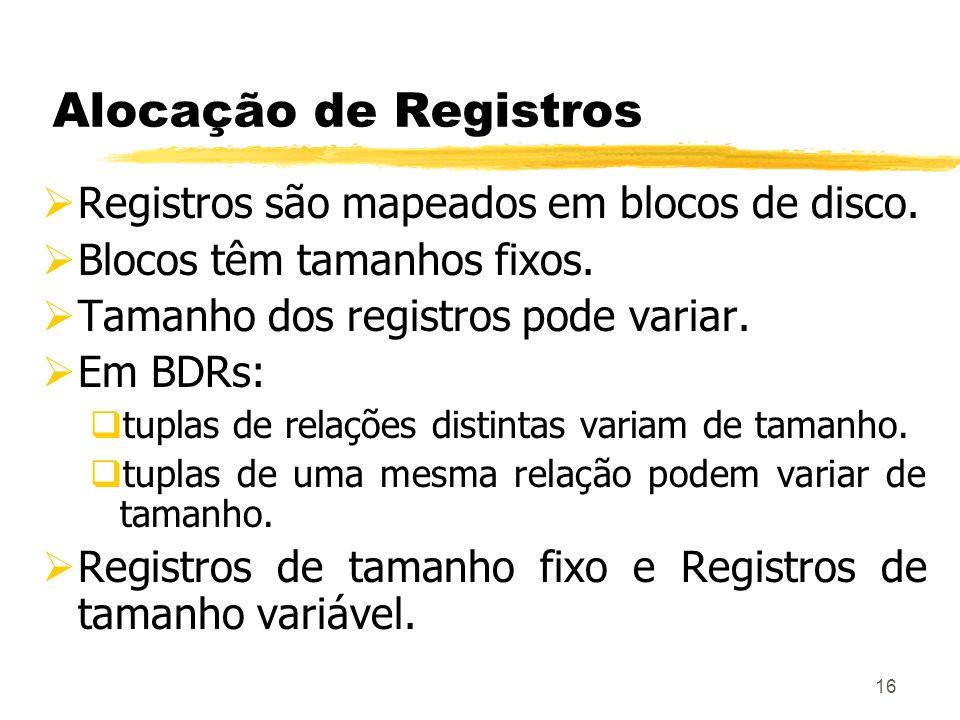 16 Alocação de Registros Registros são mapeados em blocos de disco. Blocos têm tamanhos fixos. Tamanho dos registros pode variar. Em BDRs: tuplas de r