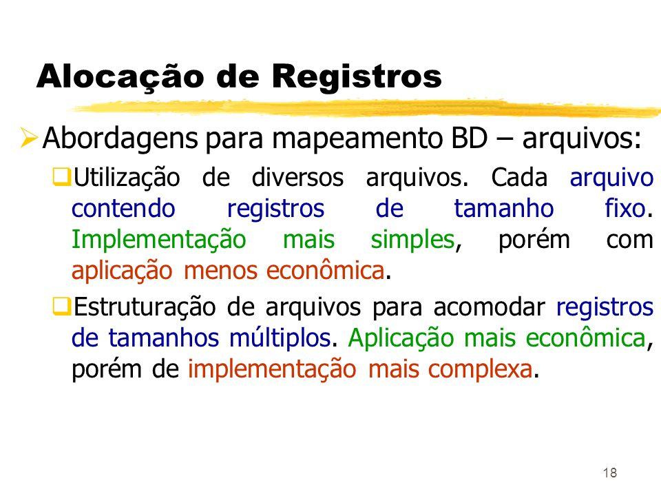 18 Alocação de Registros Abordagens para mapeamento BD – arquivos: Utilização de diversos arquivos. Cada arquivo contendo registros de tamanho fixo. I