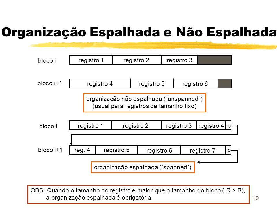 19 Organização Espalhada e Não Espalhada registro 1registro 2registro 3 registro 4registro 5registro 6 registro 1registro 2registro 3registro 4p reg.