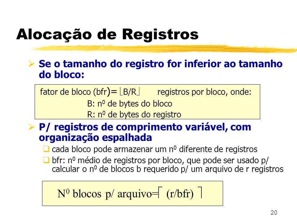 20 Alocação de Registros Se o tamanho do registro for inferior ao tamanho do bloco: fator de bloco (bfr )= B/R registros por bloco, onde: B: n 0 de by