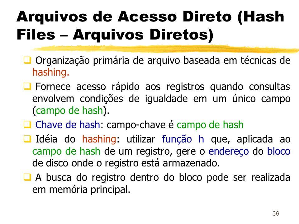 36 Arquivos de Acesso Direto (Hash Files – Arquivos Diretos) Organização primária de arquivo baseada em técnicas de hashing. Fornece acesso rápido aos