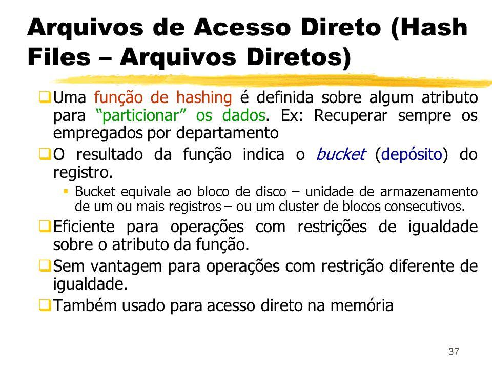 37 Arquivos de Acesso Direto (Hash Files – Arquivos Diretos) Uma função de hashing é definida sobre algum atributo para particionar os dados. Ex: Recu