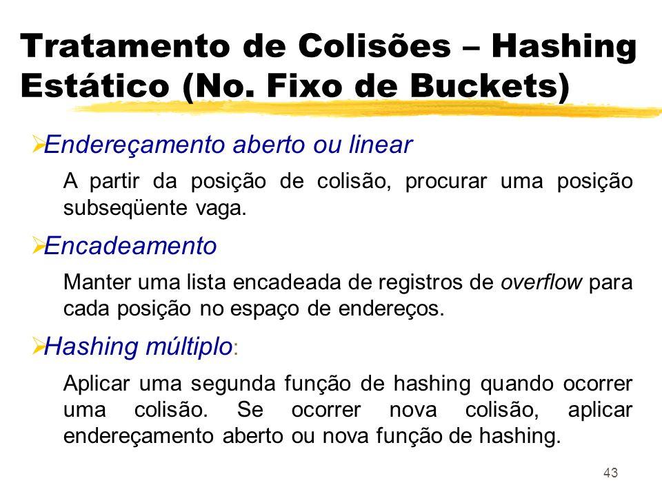 43 Tratamento de Colisões – Hashing Estático (No. Fixo de Buckets) Endereçamento aberto ou linear A partir da posição de colisão, procurar uma posição
