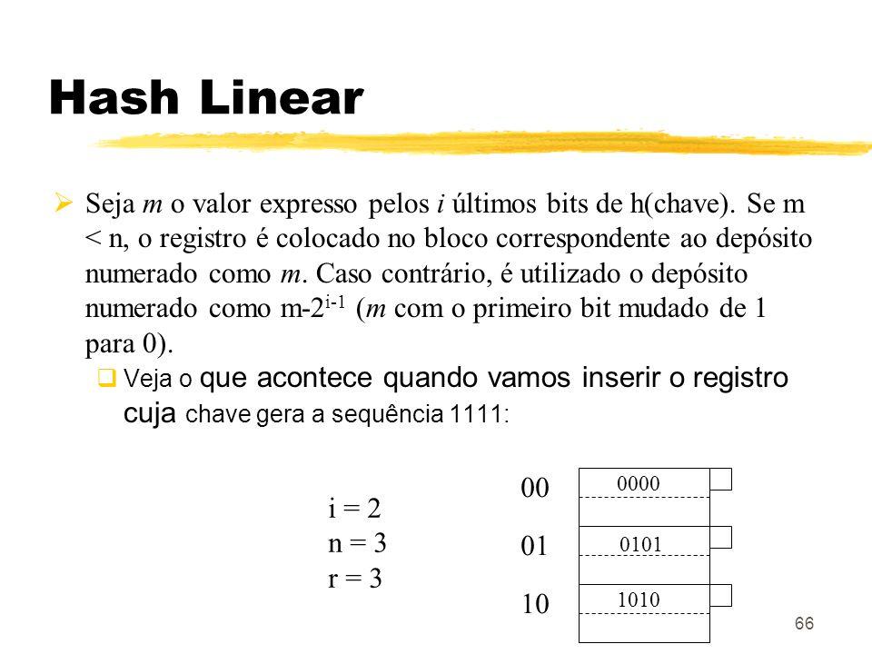 66 Hash Linear Seja m o valor expresso pelos i últimos bits de h(chave). Se m < n, o registro é colocado no bloco correspondente ao depósito numerado