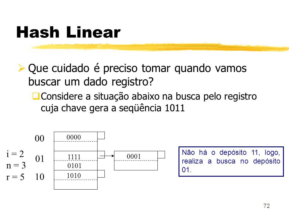 72 Hash Linear Que cuidado é preciso tomar quando vamos buscar um dado registro? Considere a situação abaixo na busca pelo registro cuja chave gera a