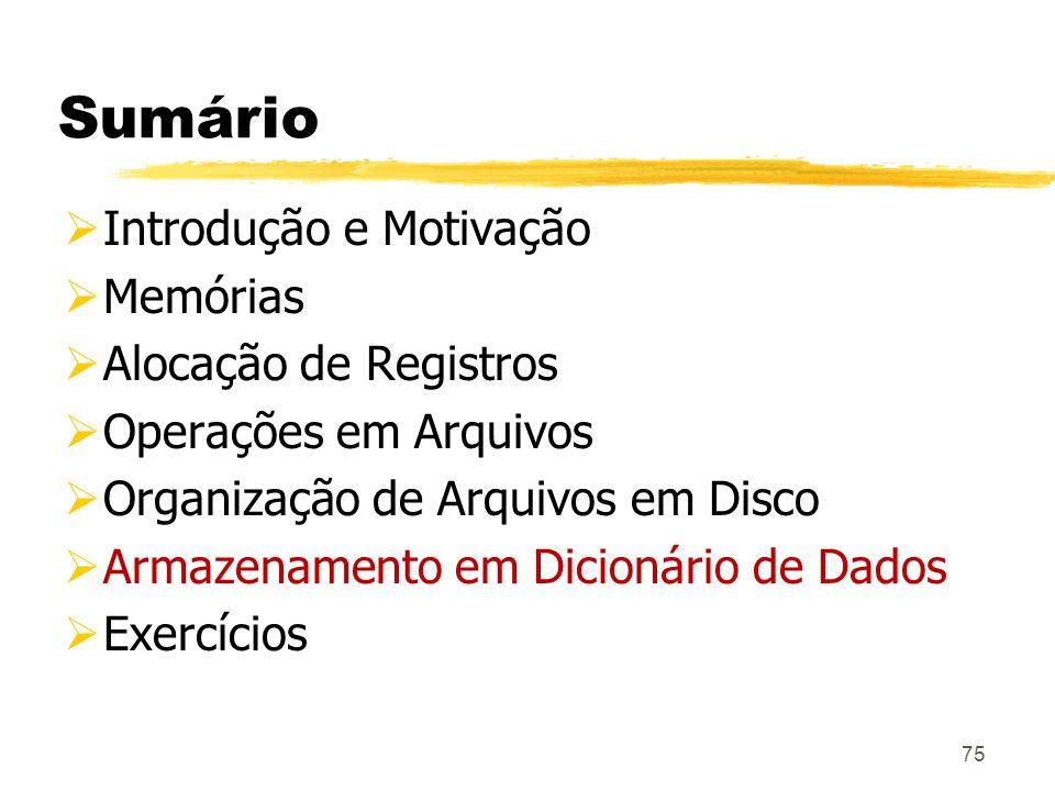 75 Sumário Introdução e Motivação Memórias Alocação de Registros Operações em Arquivos Organização de Arquivos em Disco Armazenamento em Dicionário de
