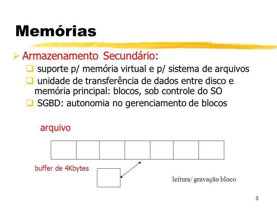 9 Memórias Armazenamento Terciário: característica principal: tempo leitura/gravação bem mais altos que o secundário; grande capacidade armazenamento; custo bem menor fitas: acesso exclusivamente seqüencial armazenamento ótico de dados: CD-ROM (Compact Disk-Read-Only Memory) Jukeboxes de discos óticos armazenam centenas de GB