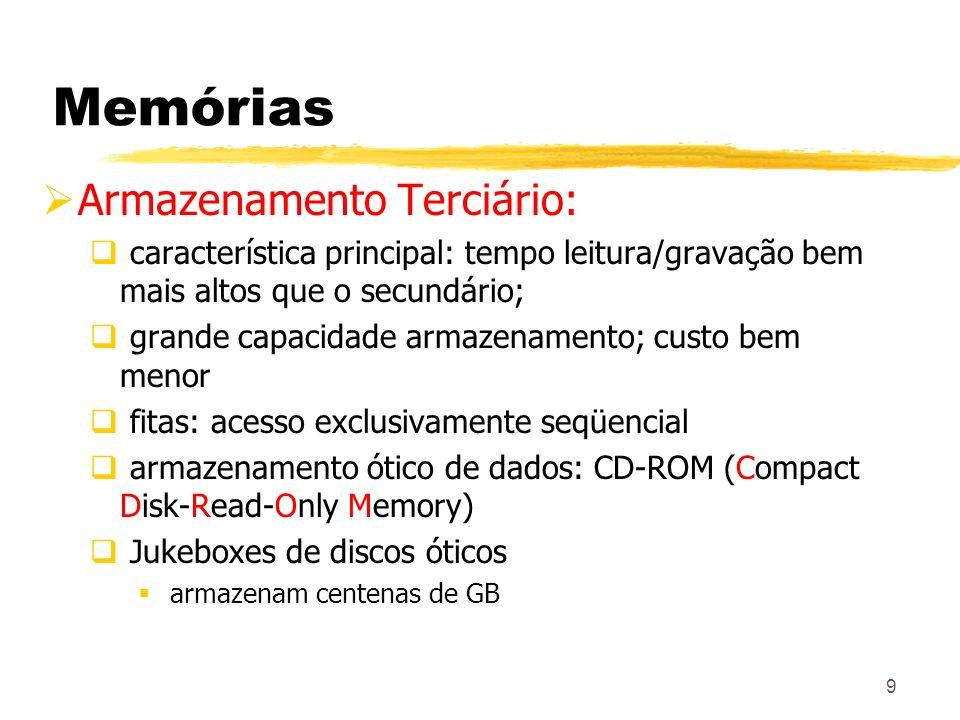 9 Memórias Armazenamento Terciário: característica principal: tempo leitura/gravação bem mais altos que o secundário; grande capacidade armazenamento;