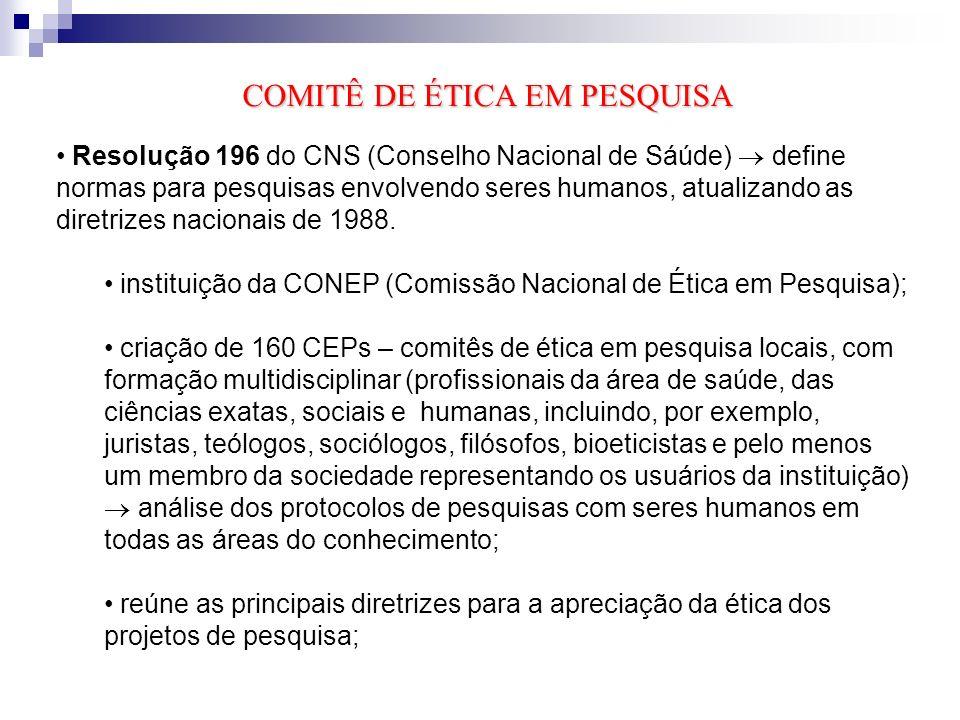 Resolução 196 cria um sistema nacional para o seu acompanhamento, constituído de Comitês de Ética em Pesquisa nas instituições que as realizam, sob a coordenação da CONEP, vinculada ao CNS.