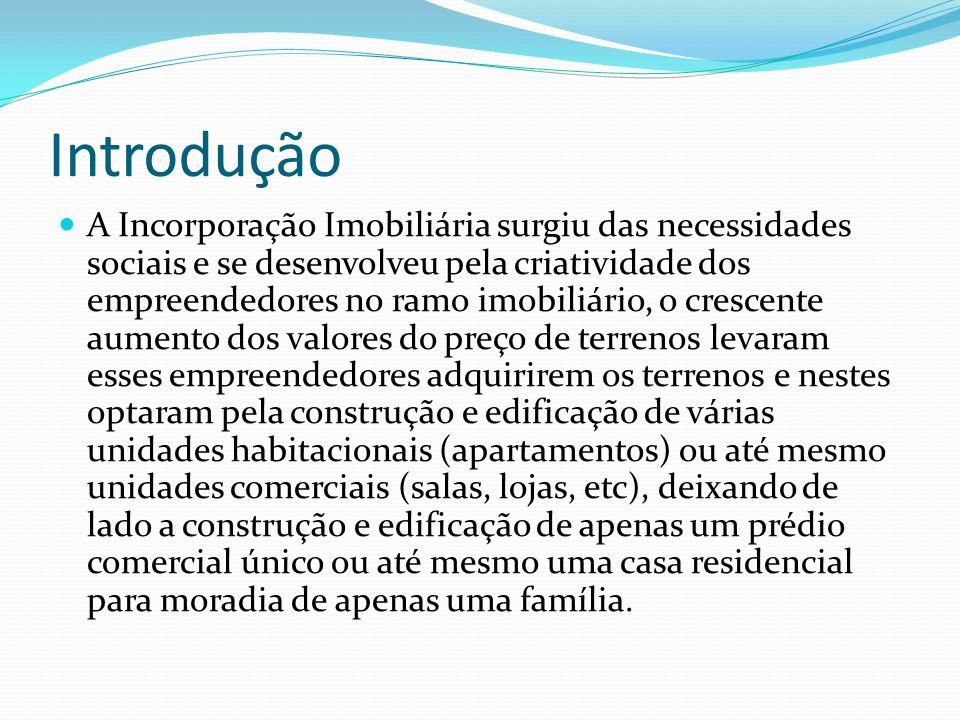 Introdução A Incorporação Imobiliária surgiu das necessidades sociais e se desenvolveu pela criatividade dos empreendedores no ramo imobiliário, o cre