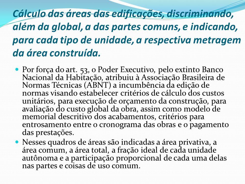 Cálculo das áreas das edificações, discriminando, além da global, a das partes comuns, e indicando, para cada tipo de unidade, a respectiva metragem d
