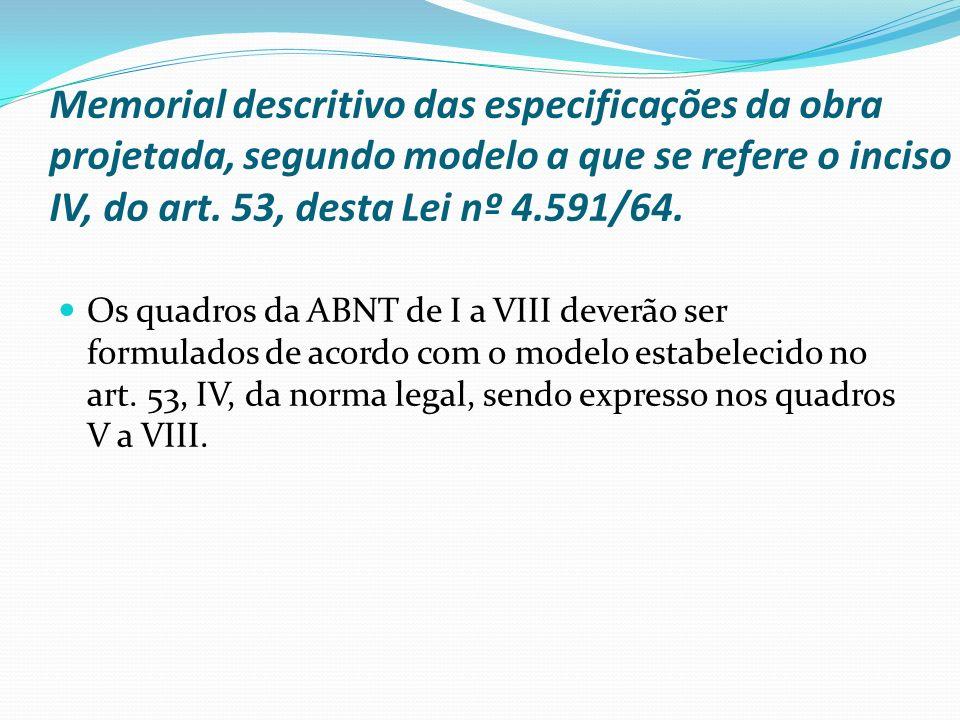 Memorial descritivo das especificações da obra projetada, segundo modelo a que se refere o inciso IV, do art. 53, desta Lei nº 4.591/64. Os quadros da