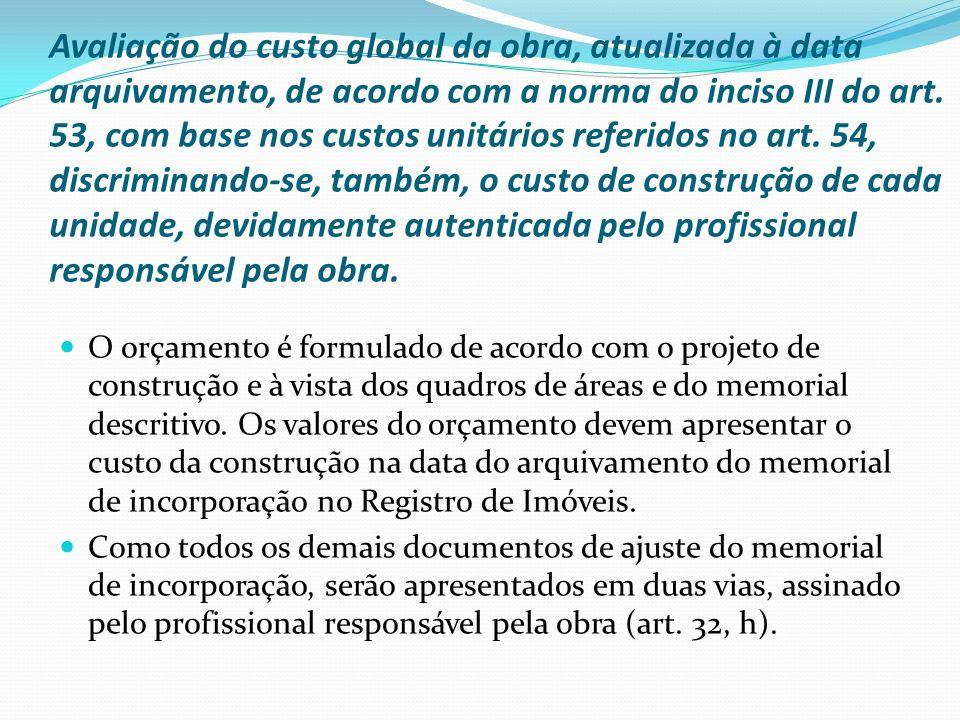 Avaliação do custo global da obra, atualizada à data arquivamento, de acordo com a norma do inciso III do art. 53, com base nos custos unitários refer