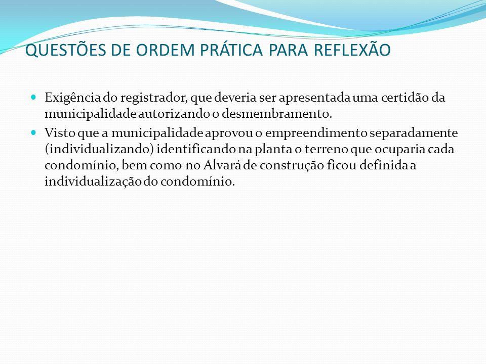 QUESTÕES DE ORDEM PRÁTICA PARA REFLEXÃO Exigência do registrador, que deveria ser apresentada uma certidão da municipalidade autorizando o desmembrame
