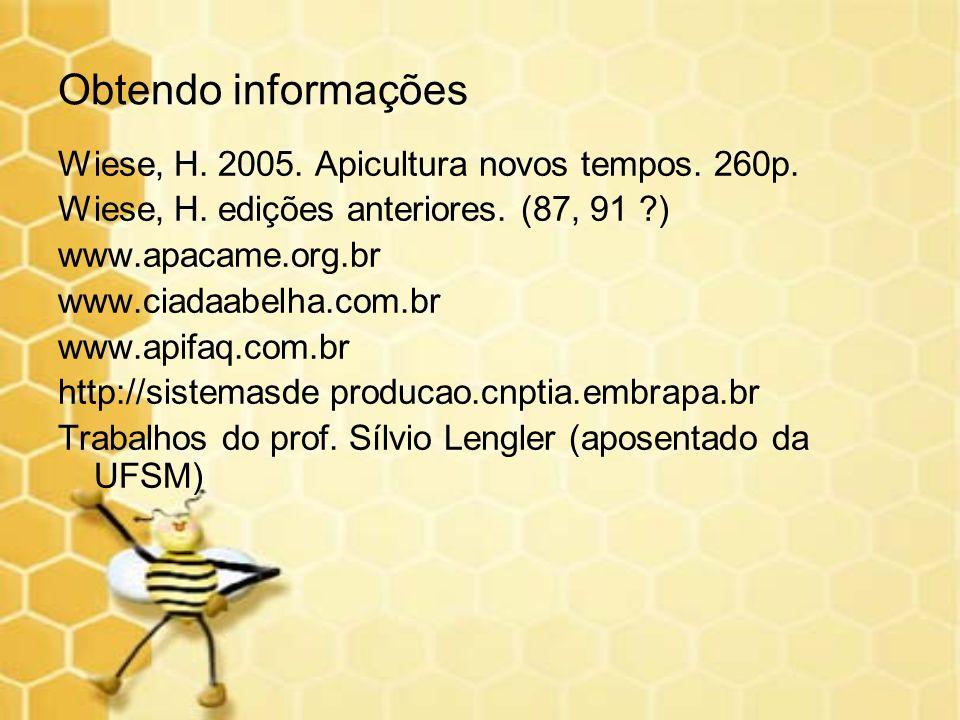 Obtendo informações Wiese, H. 2005. Apicultura novos tempos. 260p. Wiese, H. edições anteriores. (87, 91 ?) www.apacame.org.br www.ciadaabelha.com.br