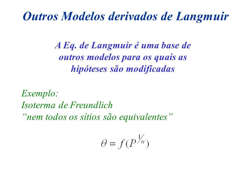 Outros Modelos derivados de Langmuir A Eq. de Langmuir é uma base de outros modelos para os quais as hipóteses são modificadas Exemplo: Isoterma de Fr