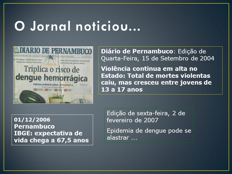 Diário de Pernambuco: Edição de Quarta-Feira, 15 de Setembro de 2004 Violência continua em alta no Estado: Total de mortes violentas caiu, mas cresceu