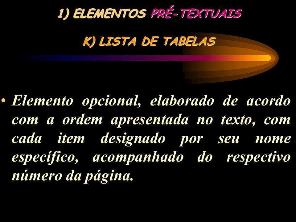 1) ELEMENTOS PRÉ-TEXTUAIS J) LISTA DE ILUSTRAÇÕES Elemento opcional, que deve ser elaborado de acordo com a ordem apresentada no texto, com cada item