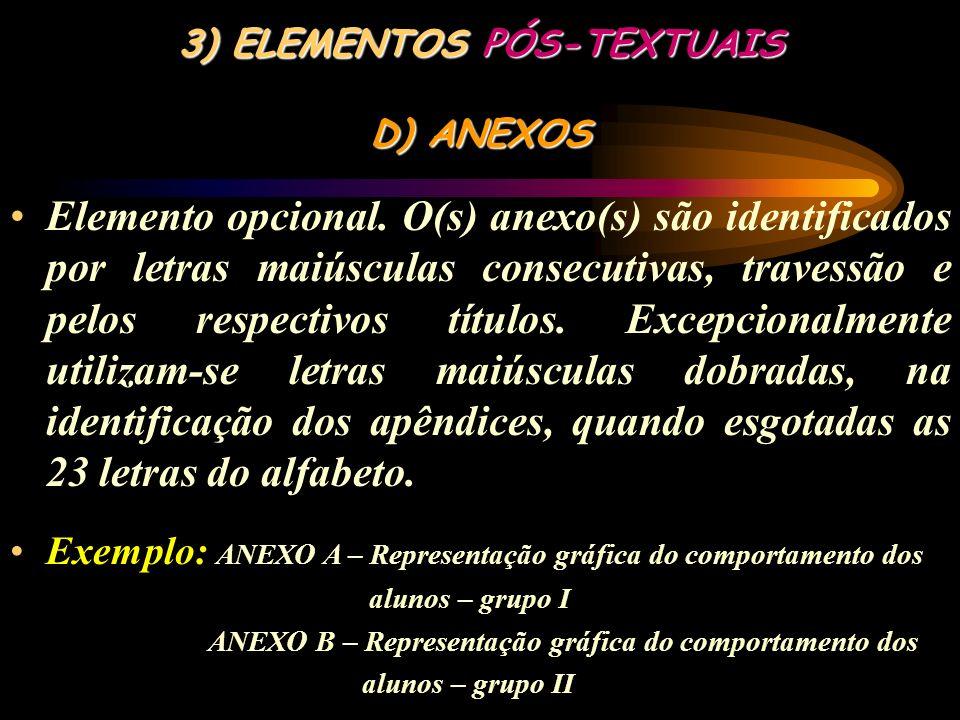 3) ELEMENTOS PÓS-TEXTUAIS C) APÊNDICE(s) Elemento opcional. O(s) apêndice(s) são identificados por letras maiúsculas consecutivas, travessão e pelos r