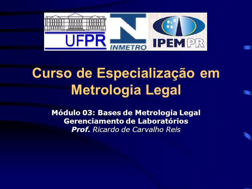 Curso de Especialização em Metrologia Legal Módulo 03: Bases de Metrologia Legal Gerenciamento de Laboratórios Prof. Ricardo de Carvalho Reis