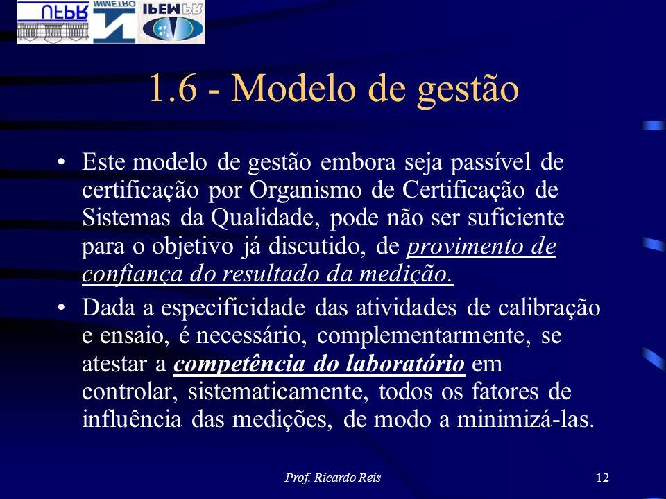 Prof. Ricardo Reis12 1.6 - Modelo de gestão Este modelo de gestão embora seja passível de certificação por Organismo de Certificação de Sistemas da Qu