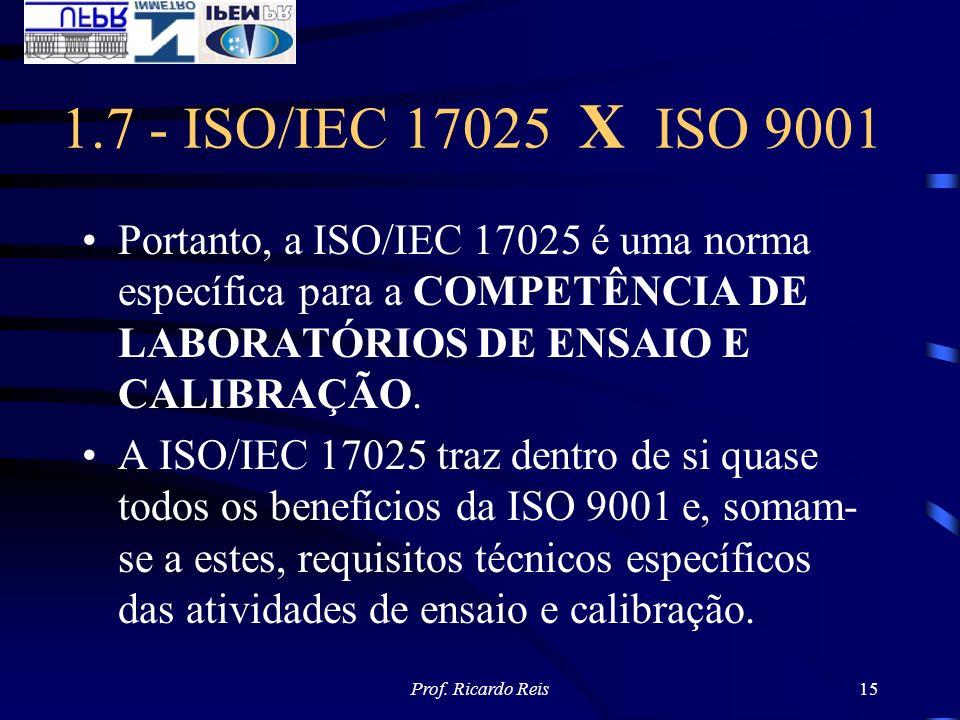 Prof. Ricardo Reis15 1.7 - ISO/IEC 17025 X ISO 9001 Portanto, a ISO/IEC 17025 é uma norma específica para a COMPETÊNCIA DE LABORATÓRIOS DE ENSAIO E CA
