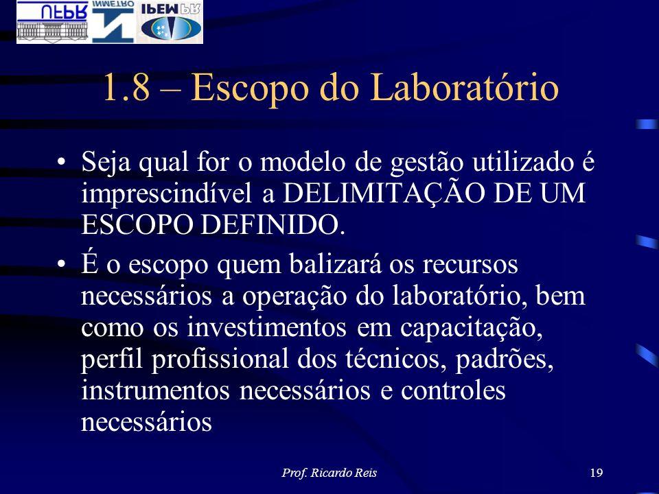 Prof. Ricardo Reis19 1.8 – Escopo do Laboratório Seja qual for o modelo de gestão utilizado é imprescindível a DELIMITAÇÃO DE UM ESCOPO DEFINIDO. É o