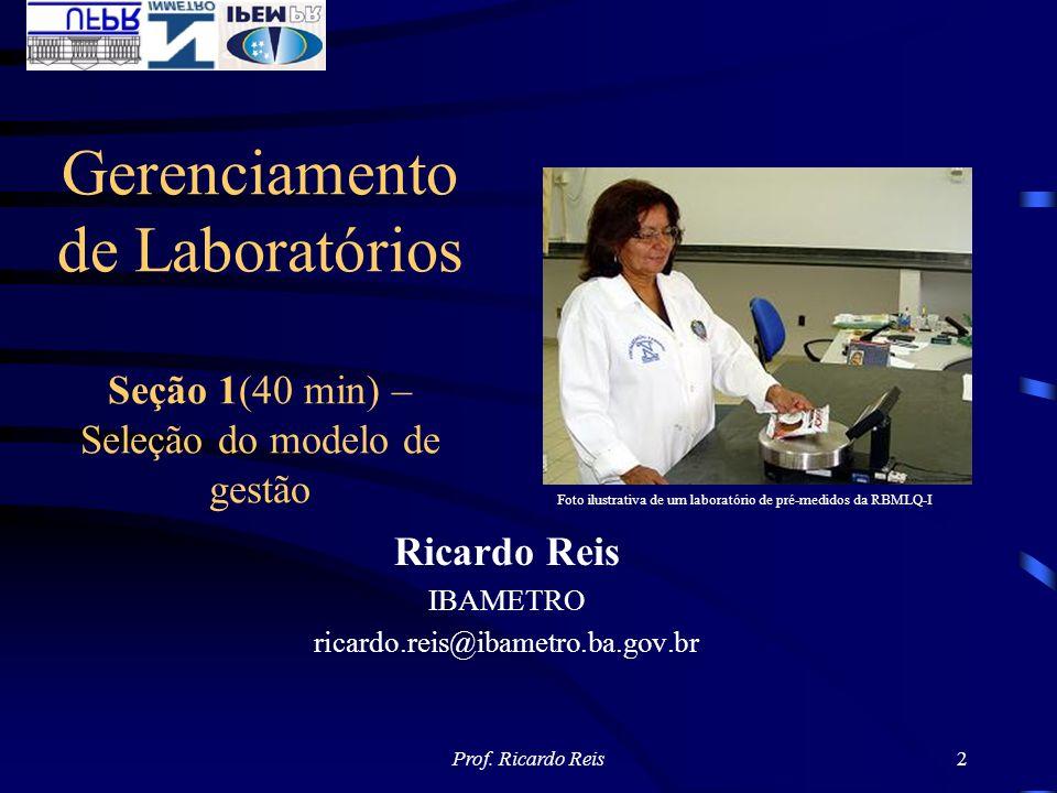 Prof. Ricardo Reis2 Ricardo Reis IBAMETRO ricardo.reis@ibametro.ba.gov.br Gerenciamento de Laboratórios Seção 1(40 min) – Seleção do modelo de gestão