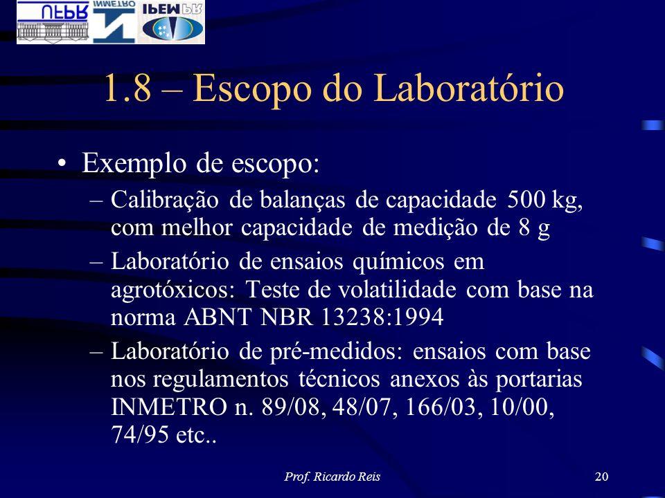 Prof. Ricardo Reis20 1.8 – Escopo do Laboratório Exemplo de escopo: –Calibração de balanças de capacidade 500 kg, com melhor capacidade de medição de