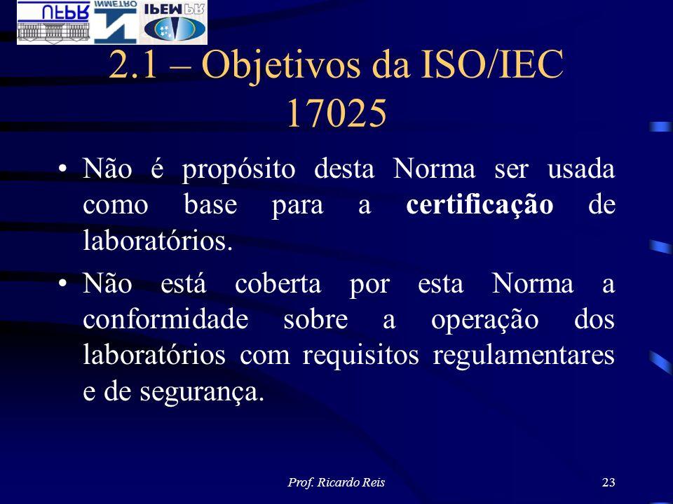 Prof. Ricardo Reis23 2.1 – Objetivos da ISO/IEC 17025 Não é propósito desta Norma ser usada como base para a certificação de laboratórios. Não está co