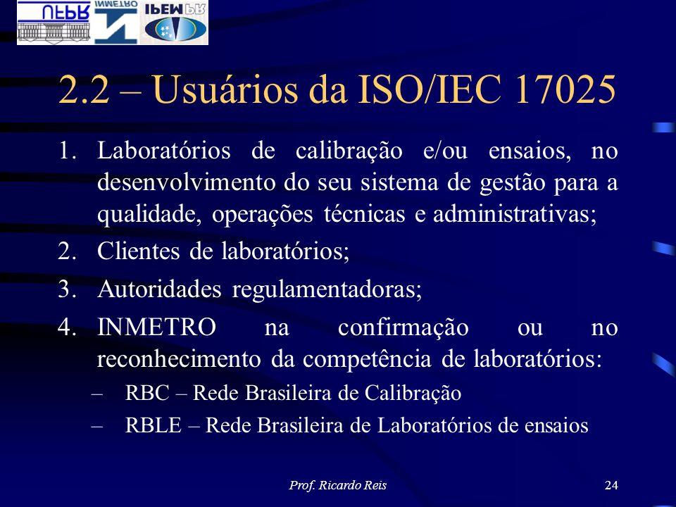 Prof. Ricardo Reis24 2.2 – Usuários da ISO/IEC 17025 1.Laboratórios de calibração e/ou ensaios, no desenvolvimento do seu sistema de gestão para a qua