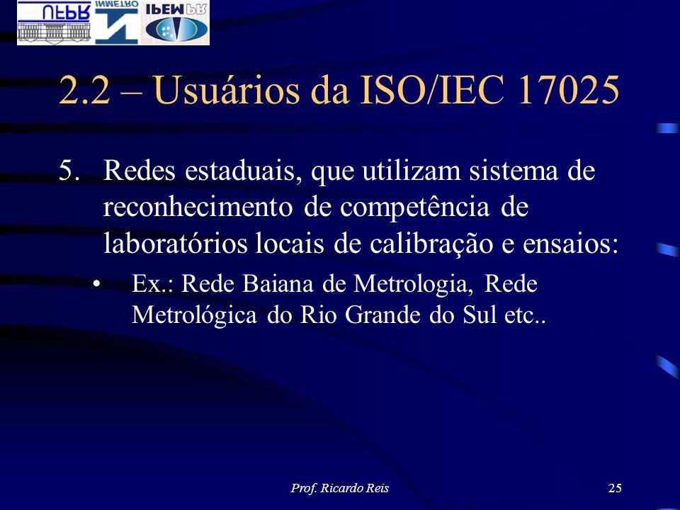 Prof. Ricardo Reis25 2.2 – Usuários da ISO/IEC 17025 5.Redes estaduais, que utilizam sistema de reconhecimento de competência de laboratórios locais d