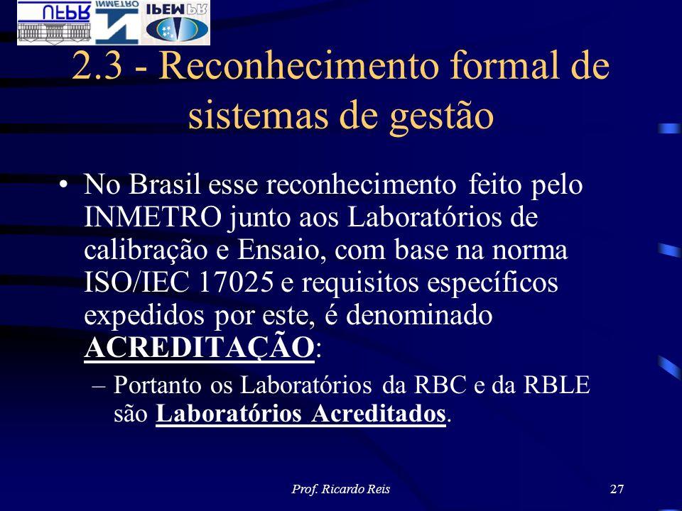 Prof. Ricardo Reis27 2.3 - Reconhecimento formal de sistemas de gestão No Brasil esse reconhecimento feito pelo INMETRO junto aos Laboratórios de cali