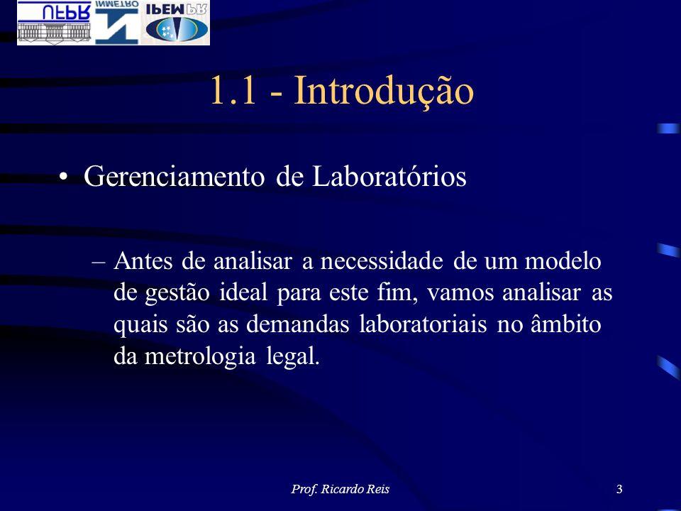 Prof. Ricardo Reis3 1.1 - Introdução Gerenciamento de Laboratórios –Antes de analisar a necessidade de um modelo de gestão ideal para este fim, vamos