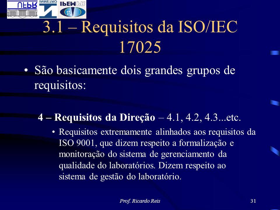 Prof. Ricardo Reis31 3.1 – Requisitos da ISO/IEC 17025 São basicamente dois grandes grupos de requisitos: 4 – Requisitos da Direção – 4.1, 4.2, 4.3...