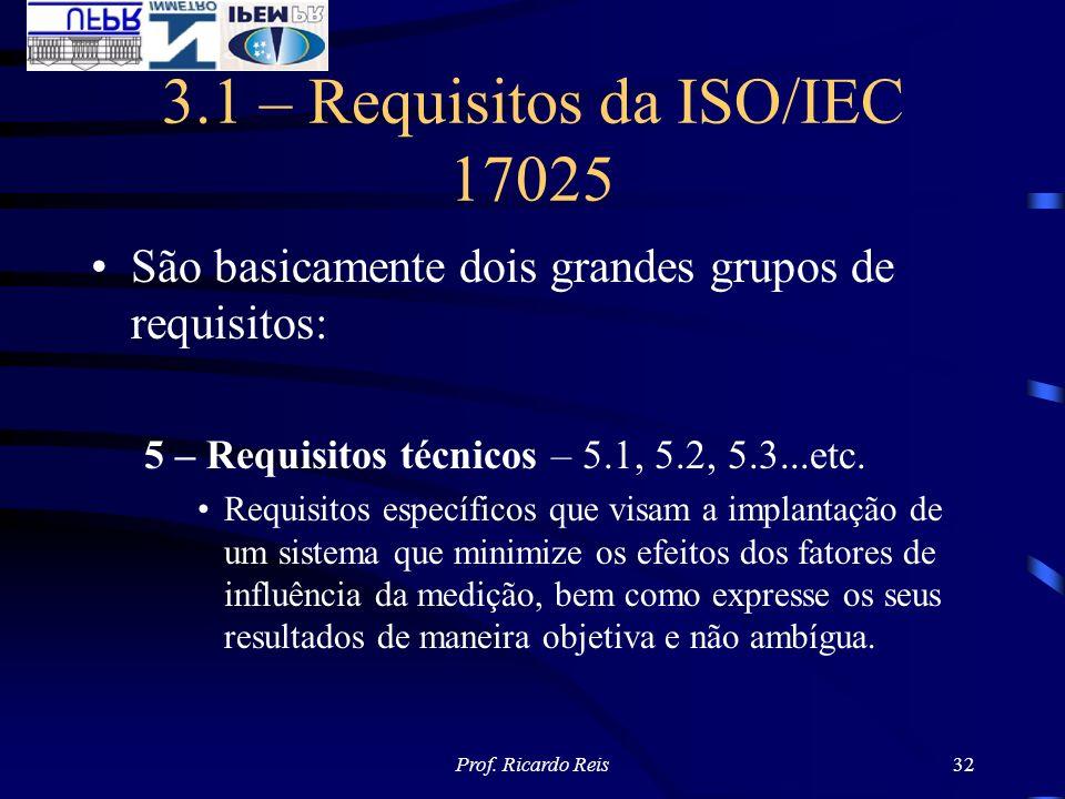 Prof. Ricardo Reis32 3.1 – Requisitos da ISO/IEC 17025 São basicamente dois grandes grupos de requisitos: 5 – Requisitos técnicos – 5.1, 5.2, 5.3...et