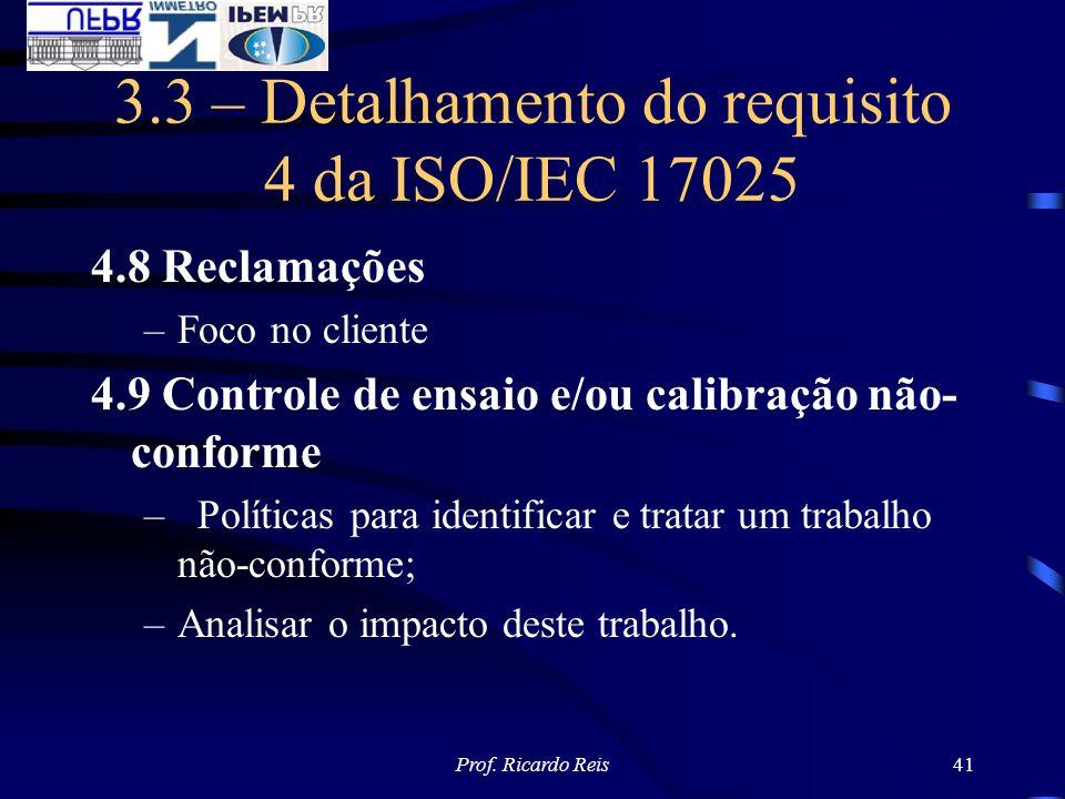 Prof. Ricardo Reis41 3.3 – Detalhamento do requisito 4 da ISO/IEC 17025 4.8 Reclamações –Foco no cliente 4.9 Controle de ensaio e/ou calibração não- c