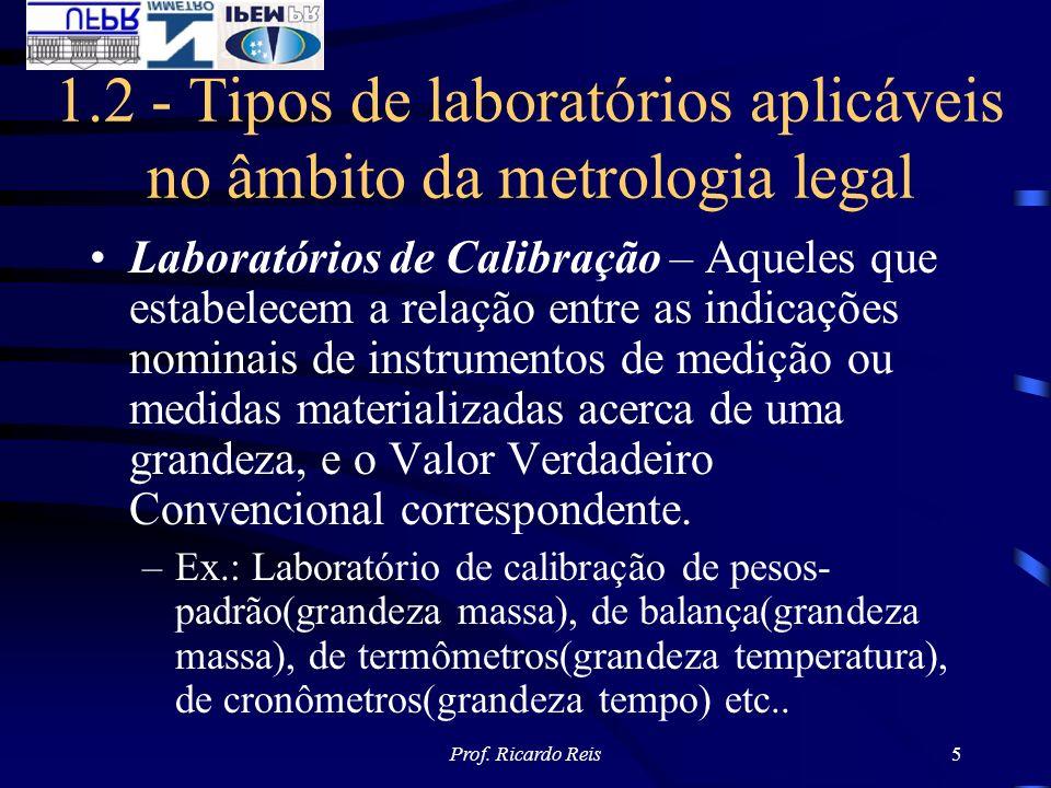 Prof. Ricardo Reis5 1.2 - Tipos de laboratórios aplicáveis no âmbito da metrologia legal Laboratórios de Calibração – Aqueles que estabelecem a relaçã