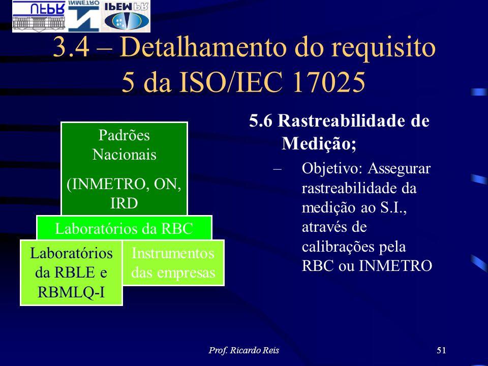 Prof. Ricardo Reis51 3.4 – Detalhamento do requisito 5 da ISO/IEC 17025 5.6 Rastreabilidade de Medição; –Objetivo: Assegurar rastreabilidade da mediçã